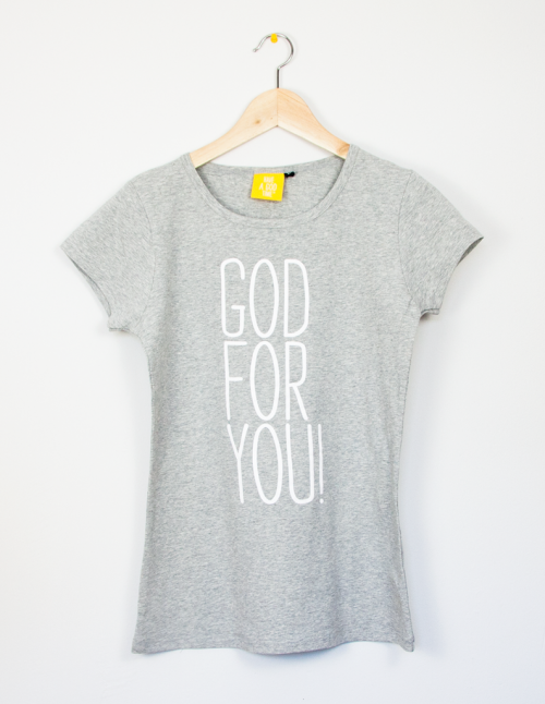 "Camiseta fit gris ""God for you"""