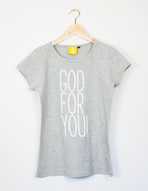 "Camiseta fit gris ""God for you"""